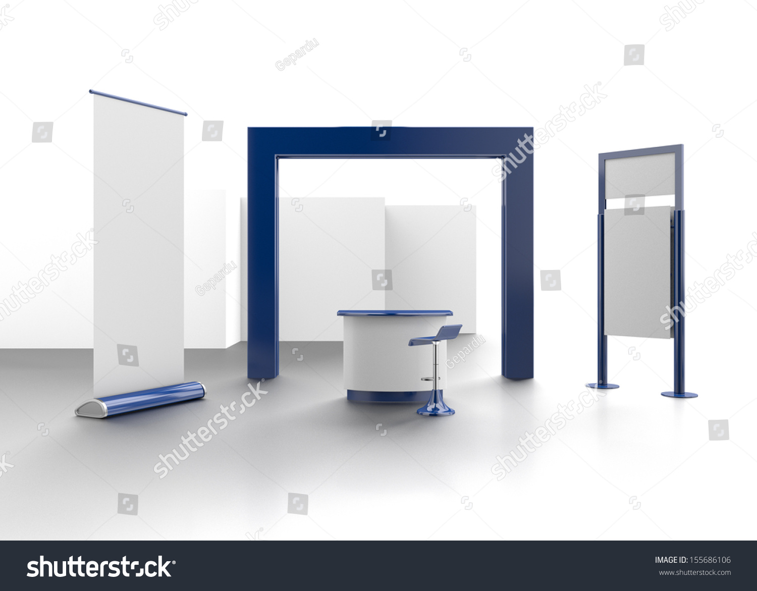 Exhibition Stall Rendering : Trade exhibition booth stall d render stock illustration