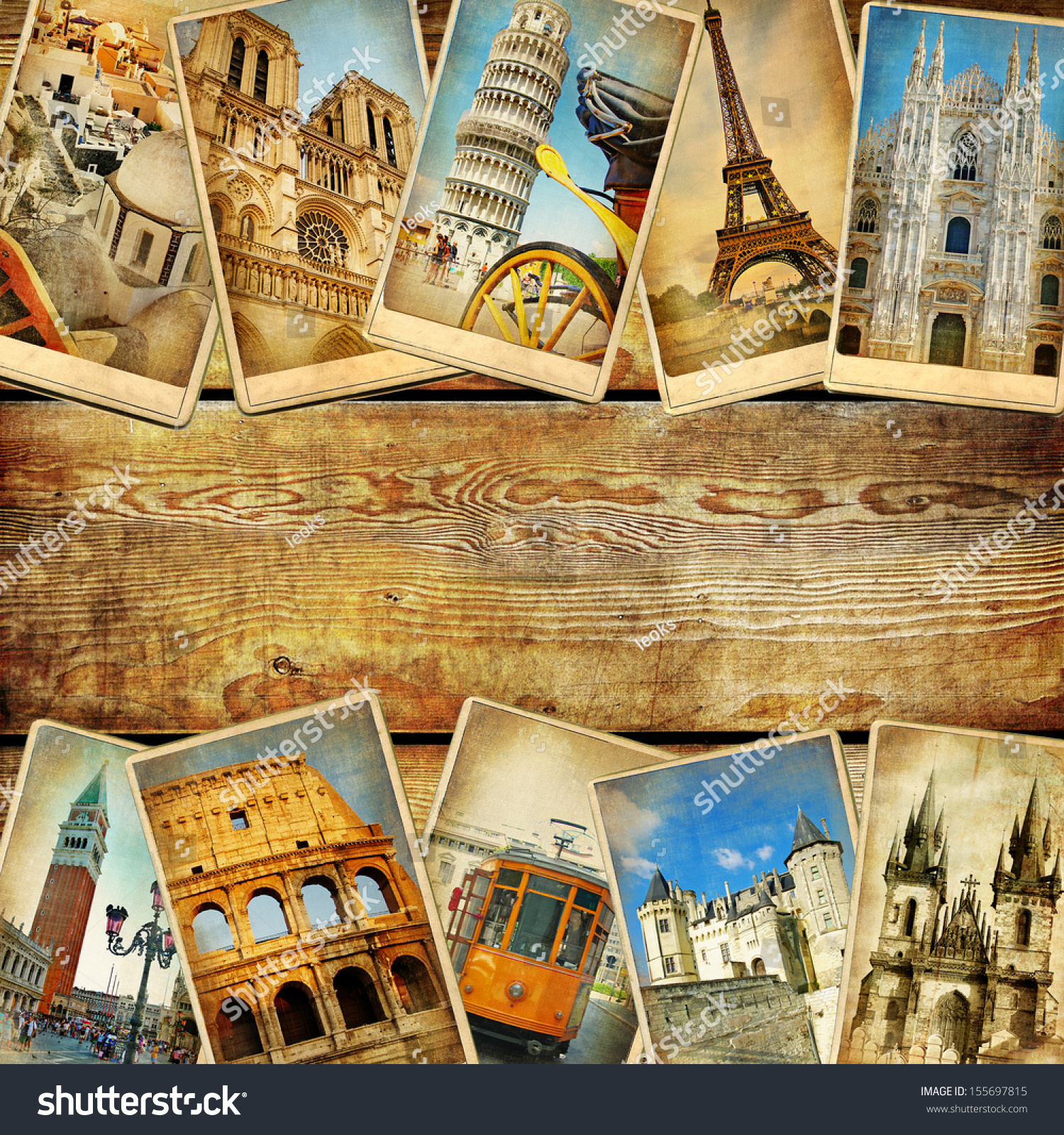 Vintage Collage Cards With Place For Text  European