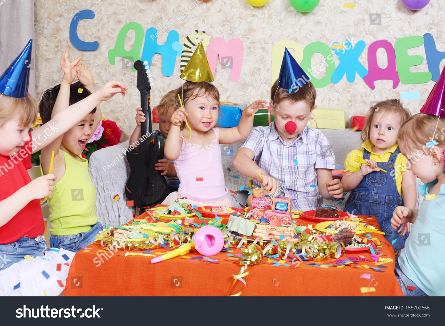 Seven Happy Little Kids Eat Cake Stock Photo Edit Now Shutterstock