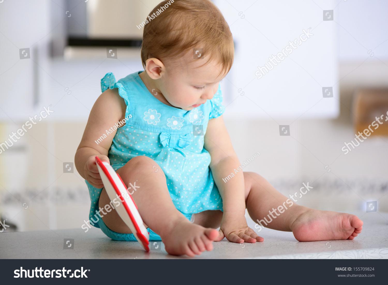 Little Baby Girl Sitting Kitchen Stock Photo (Edit Now) 155709824 ...