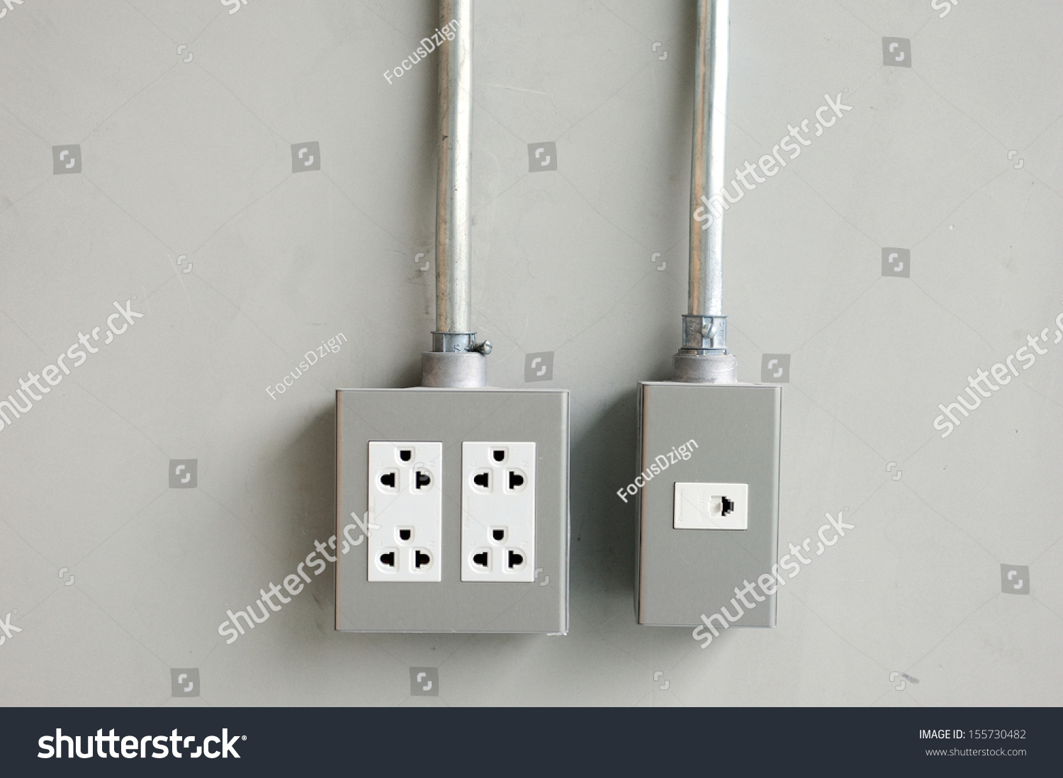 Electrical Outlet Light Switches On Cement Stock Photo (Royalty Free ...