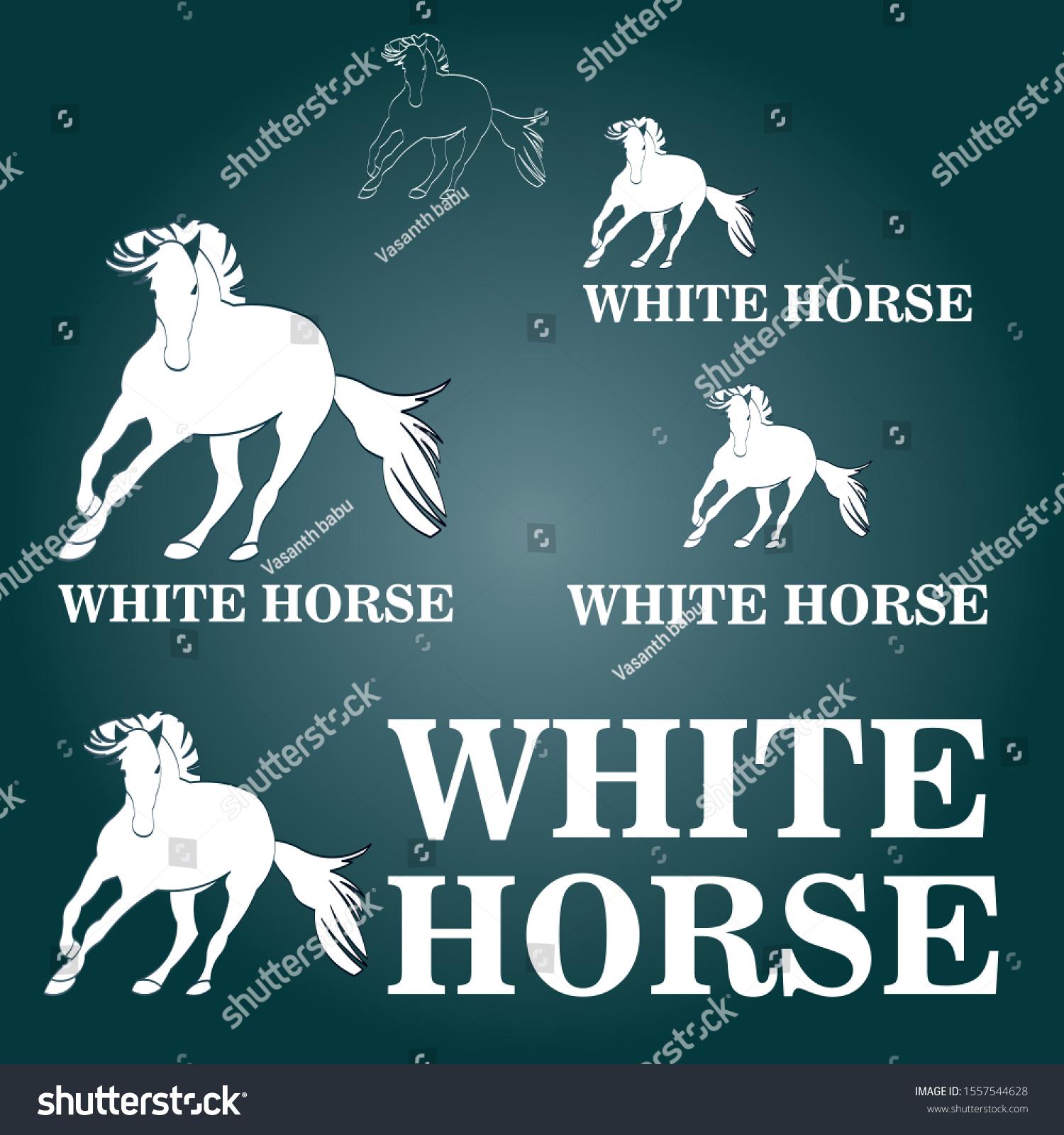 White Horse Logo Design Branding Business Stock Vector Royalty Free 1557544628