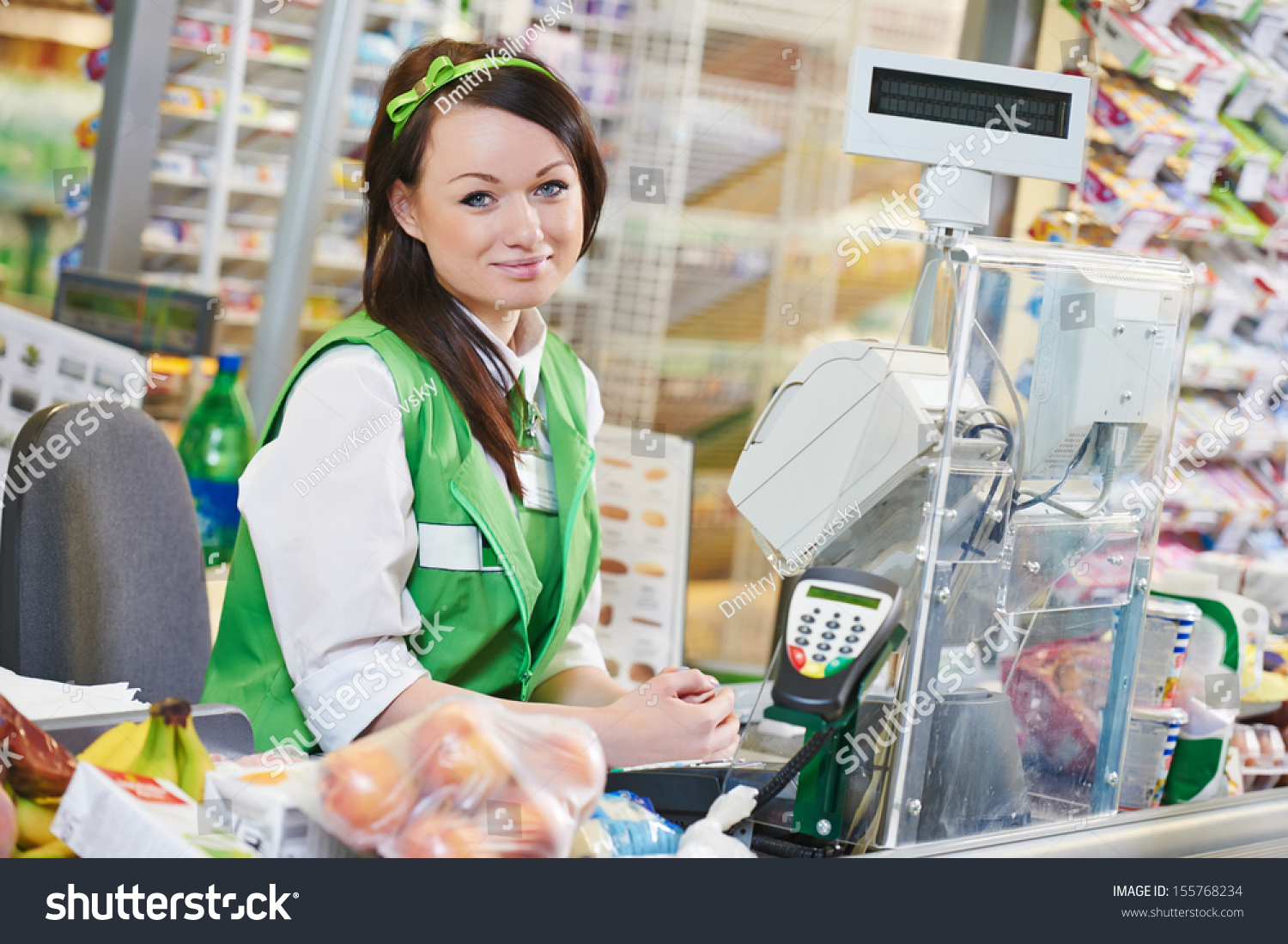 portrait s assistant cashdesk worker supermarket stock photo portrait of s assistant or cashdesk worker in supermarket store