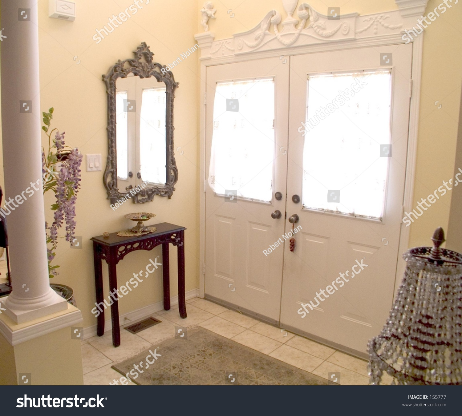 Ornate Entry Hall White Windowed Doors Stock Photo Edit Now 155777