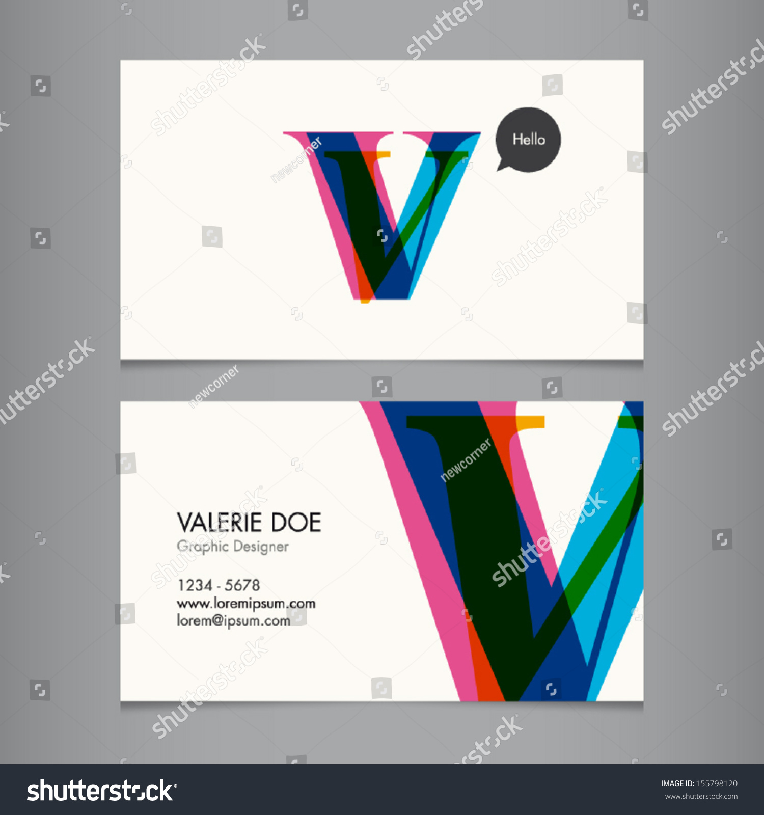 business card template letter v stock vector shutterstock
