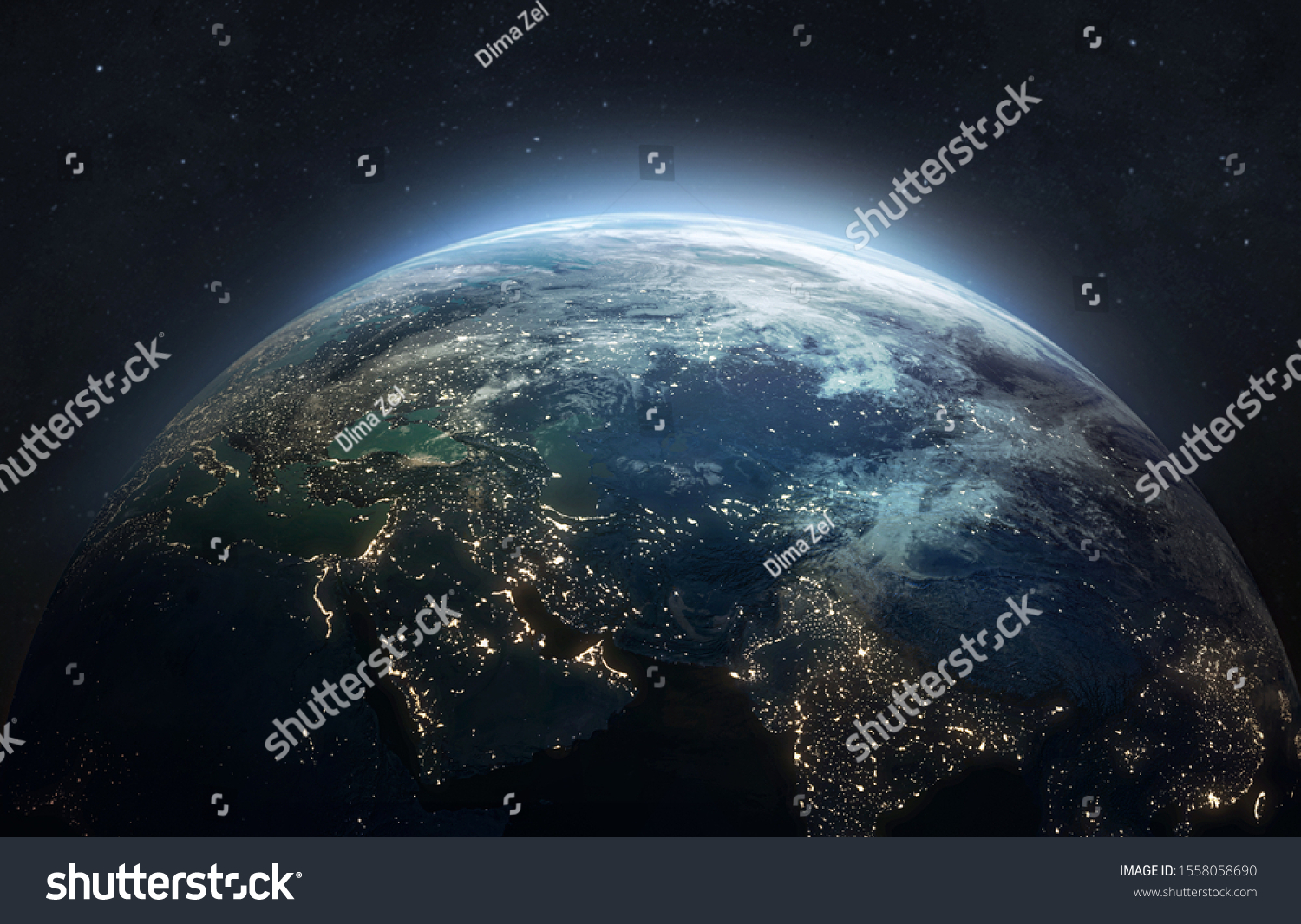 Earth at he night. Abstract wallpaper. City lights on planet. Civilization. Elements of this image furnished by NASA #1558058690