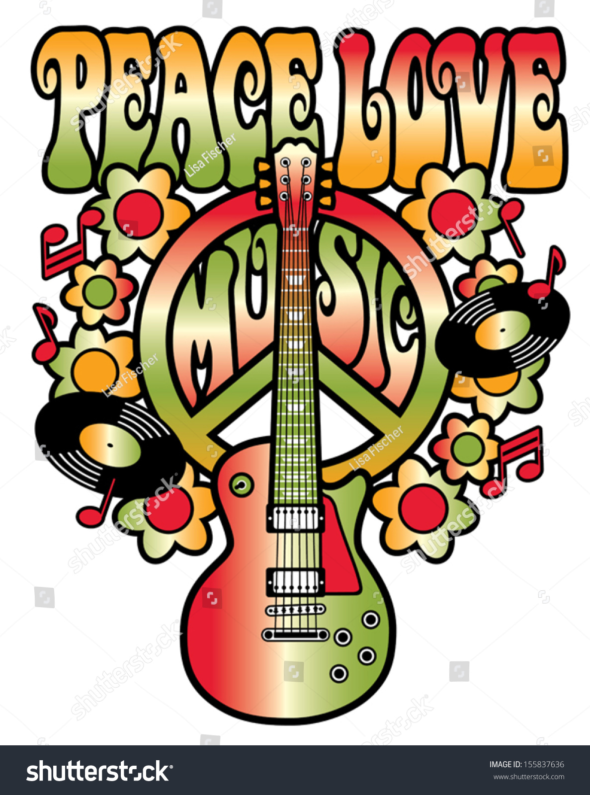 Peace Love Music Text Design With Peace Symbol Guitar