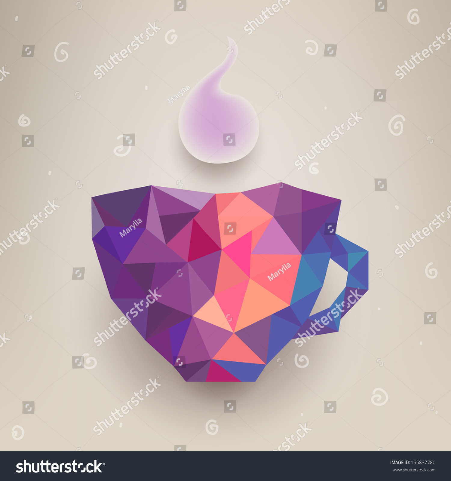 vector cute colorful cup made triangles stock vector 155837780