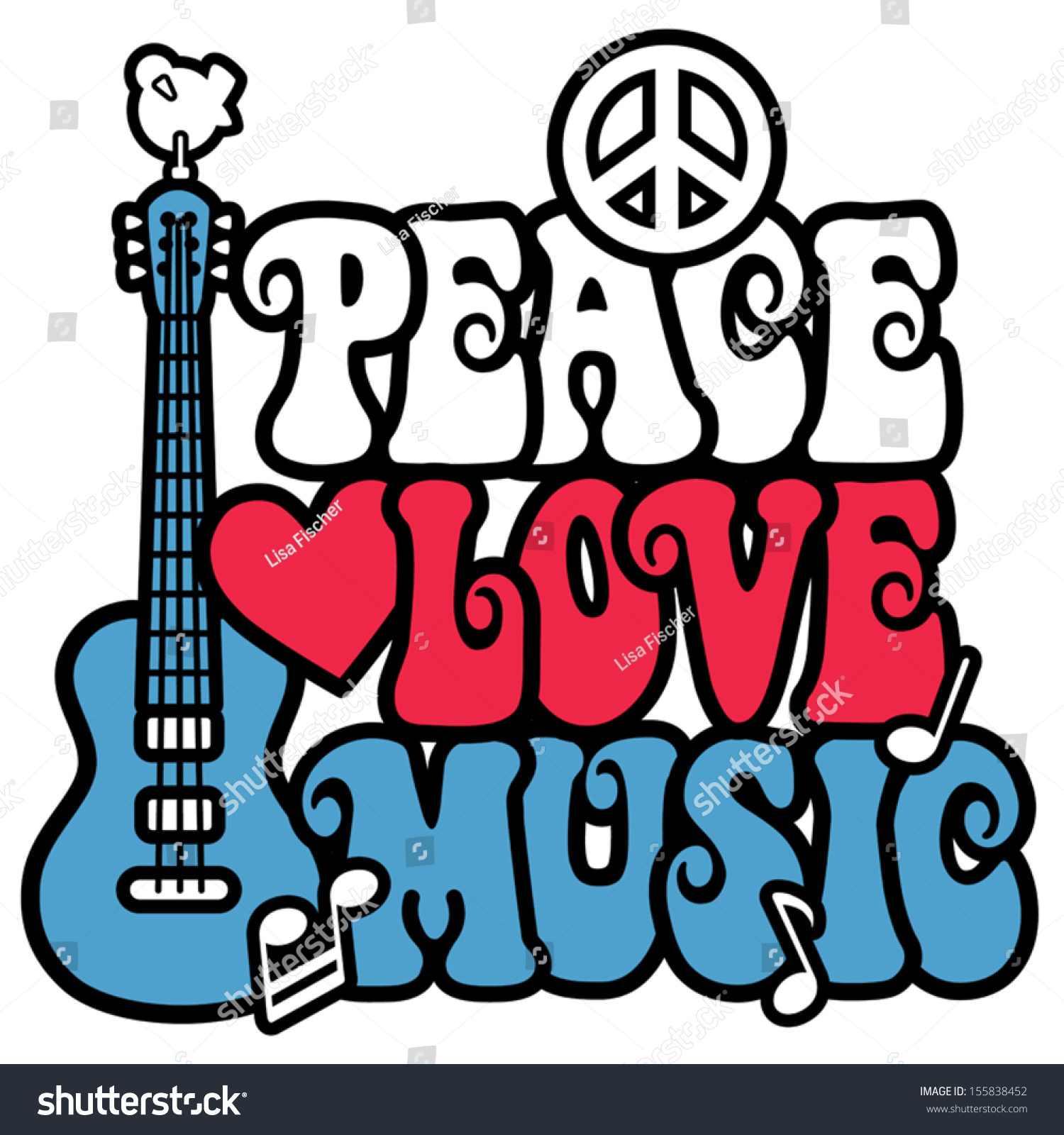 Peace love music text design peace stock vector 155838452 shutterstock peace love music text design with peace symbol guitardove heart and musical buycottarizona Image collections