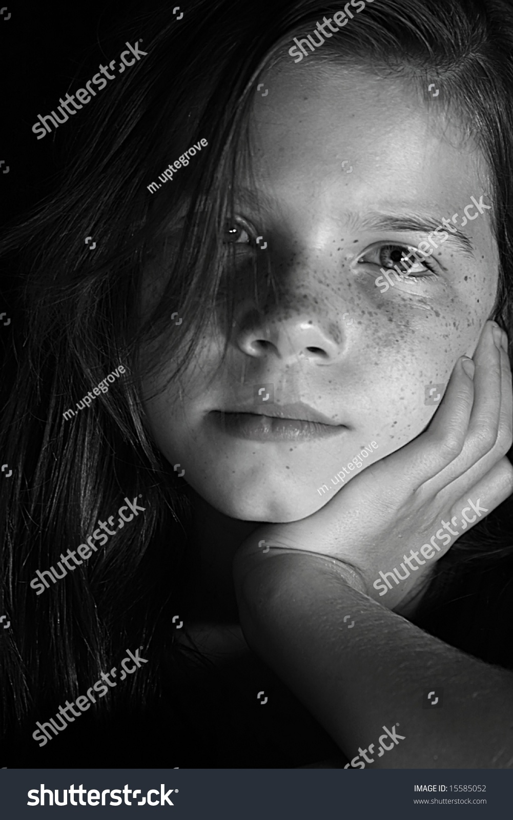 portrait of young beautiful girl black and white photo with dramatic lighting  sc 1 st  Shutterstock & Portrait Young Beautiful Girl Black White Stock Photo 15585052 ... azcodes.com