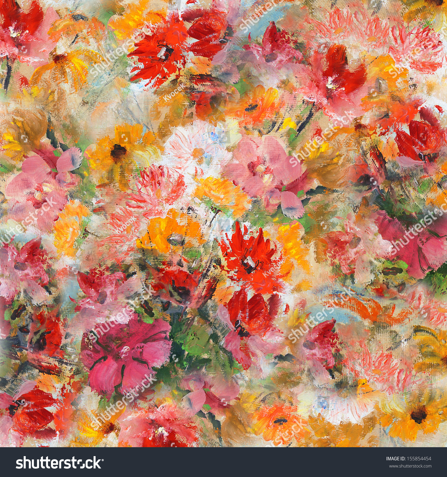 Still Life Flowers Wallpaper Background Oil Stock