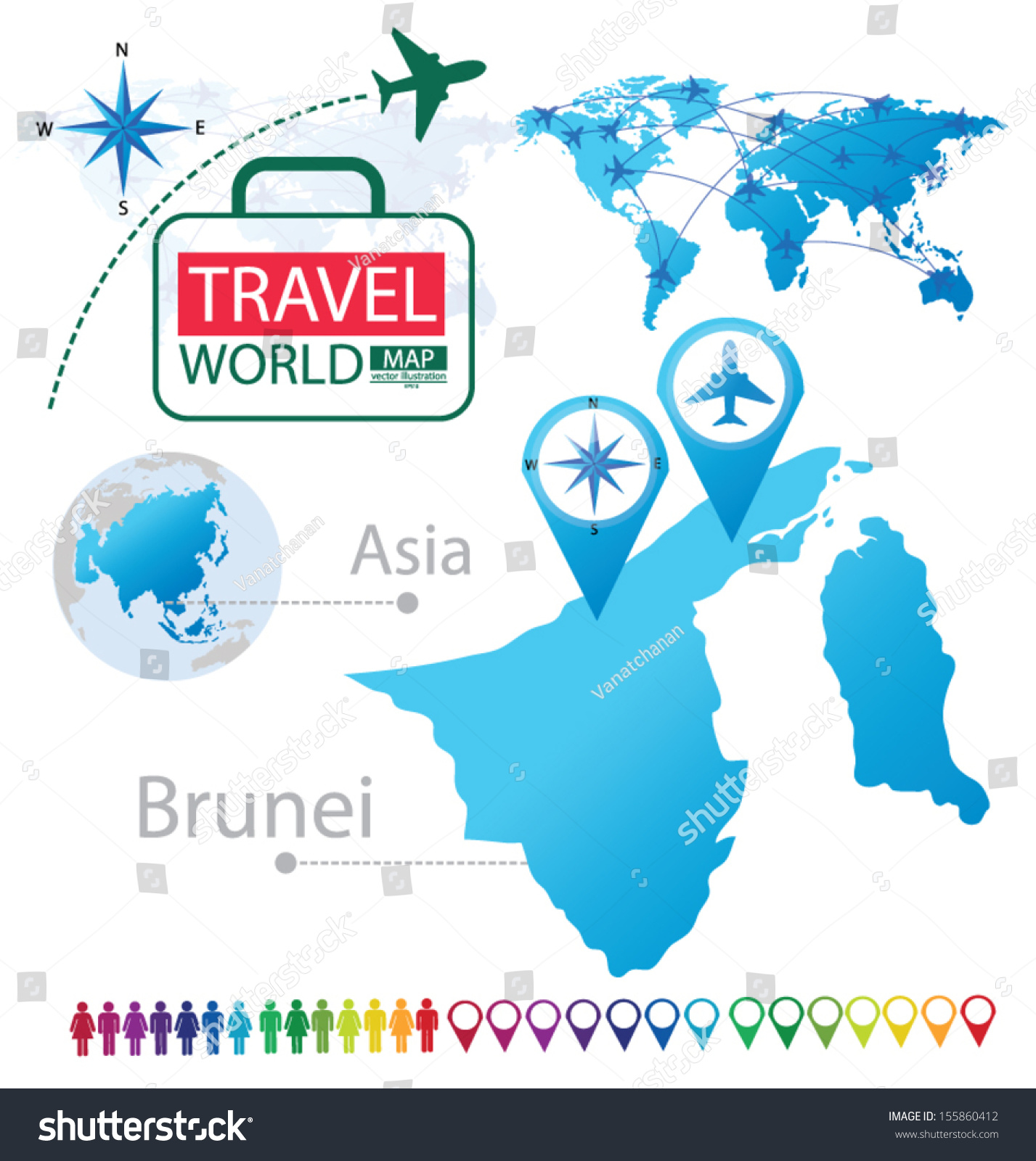 Map Of Asia Brunei.Brunei Asia World Map Travel Vector Stock Vector Royalty Free