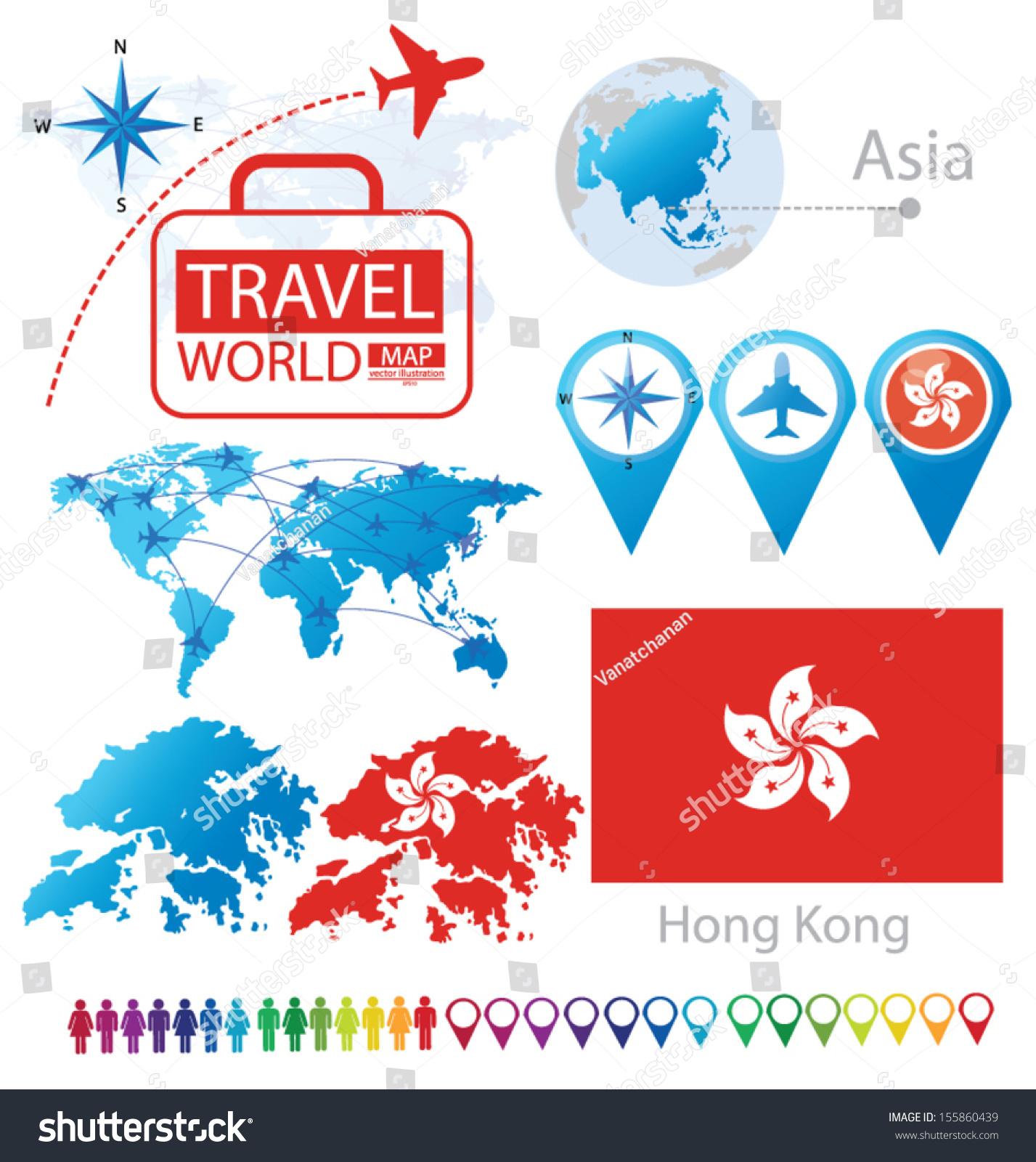 Map Of Asia Hong Kong.Hong Kong Flag Asia World Map Stock Vector Royalty Free 155860439