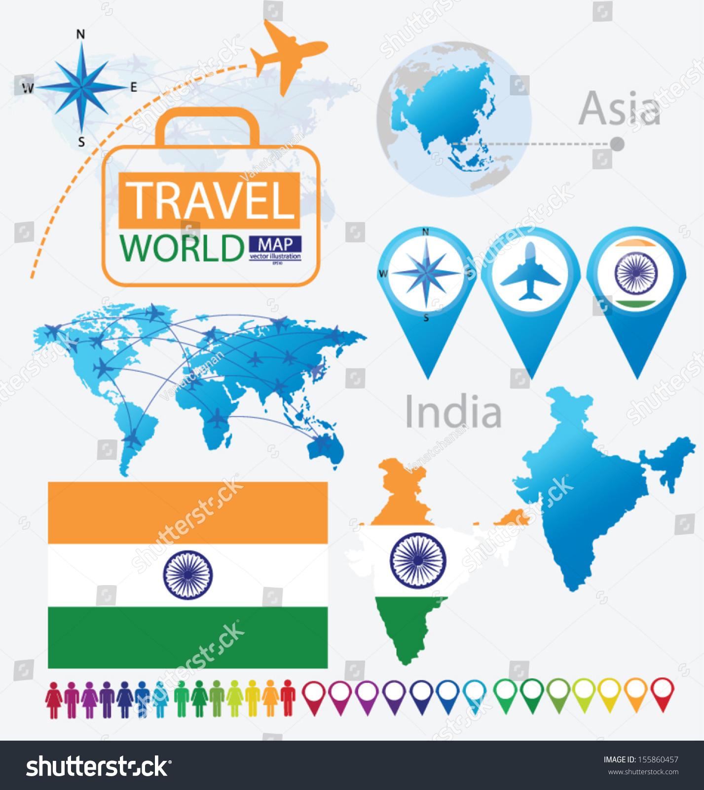 Republic india flag asia world map stock vector 155860457 republic of india flag asia world map travel vector illustration gumiabroncs Gallery