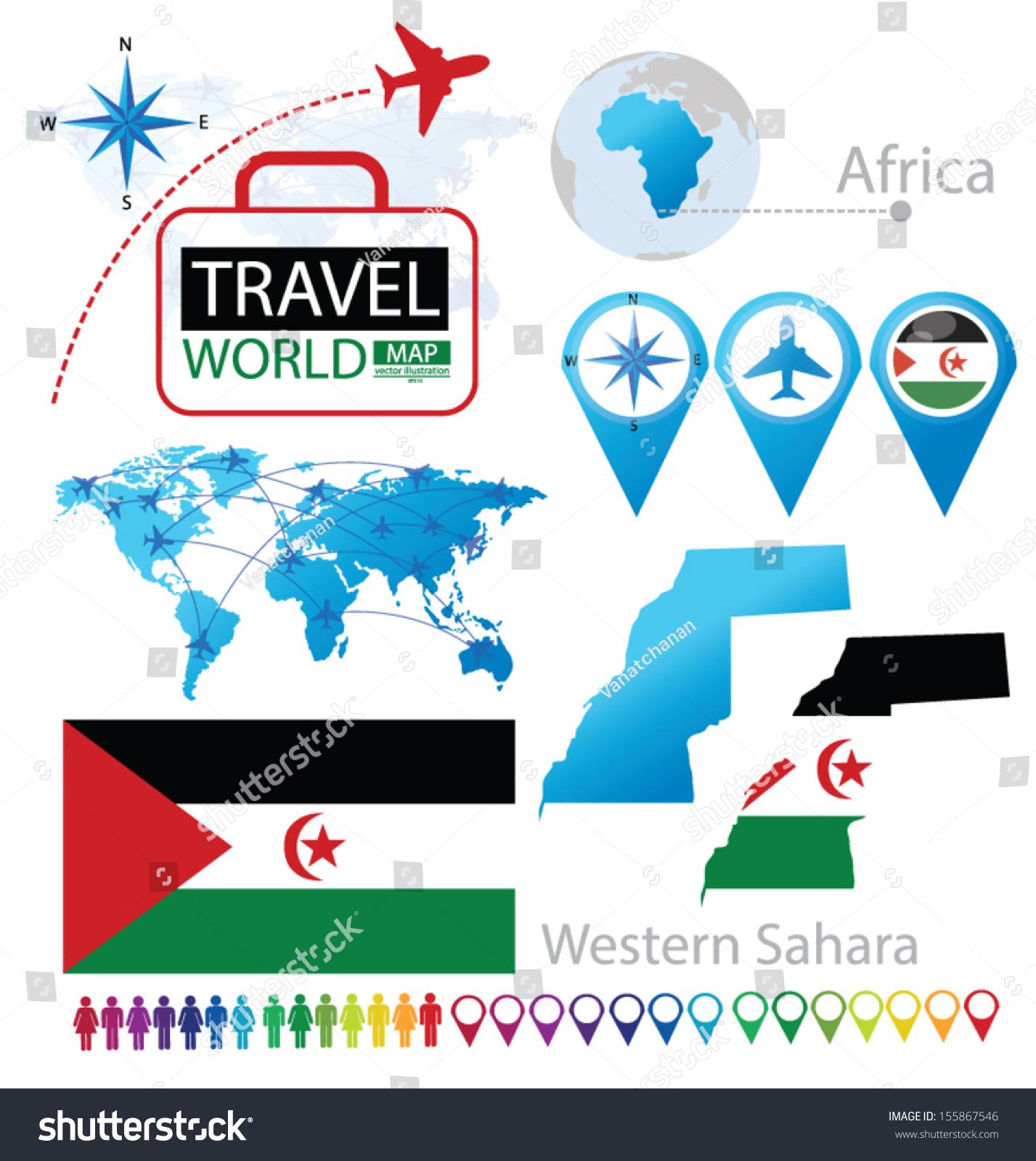 Image of: Western Sahara Flag World Map Travel Stock Vector Royalty Free 155867546