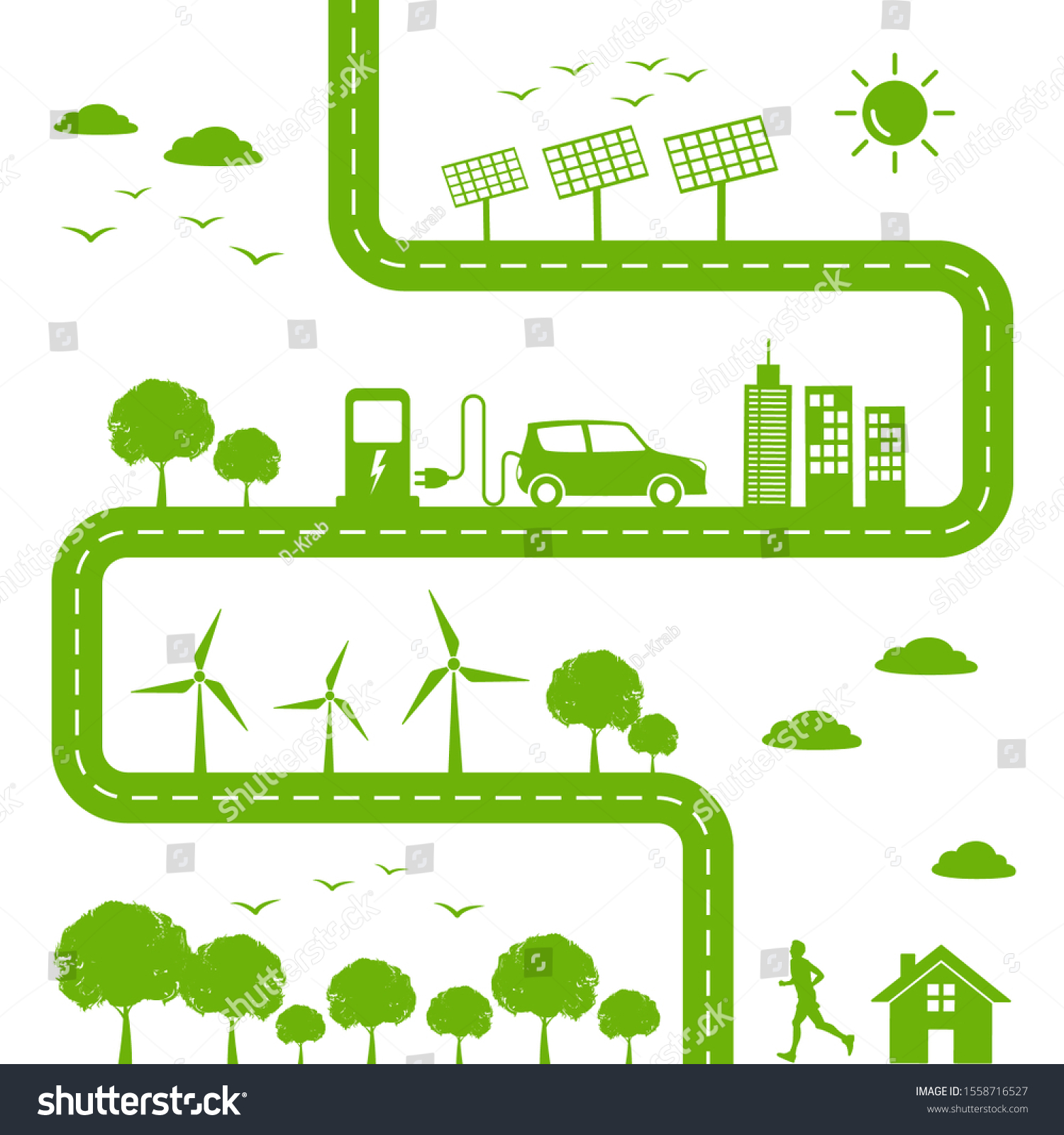 Sustainable Ecology Friendly Green Cities Environmental Stock