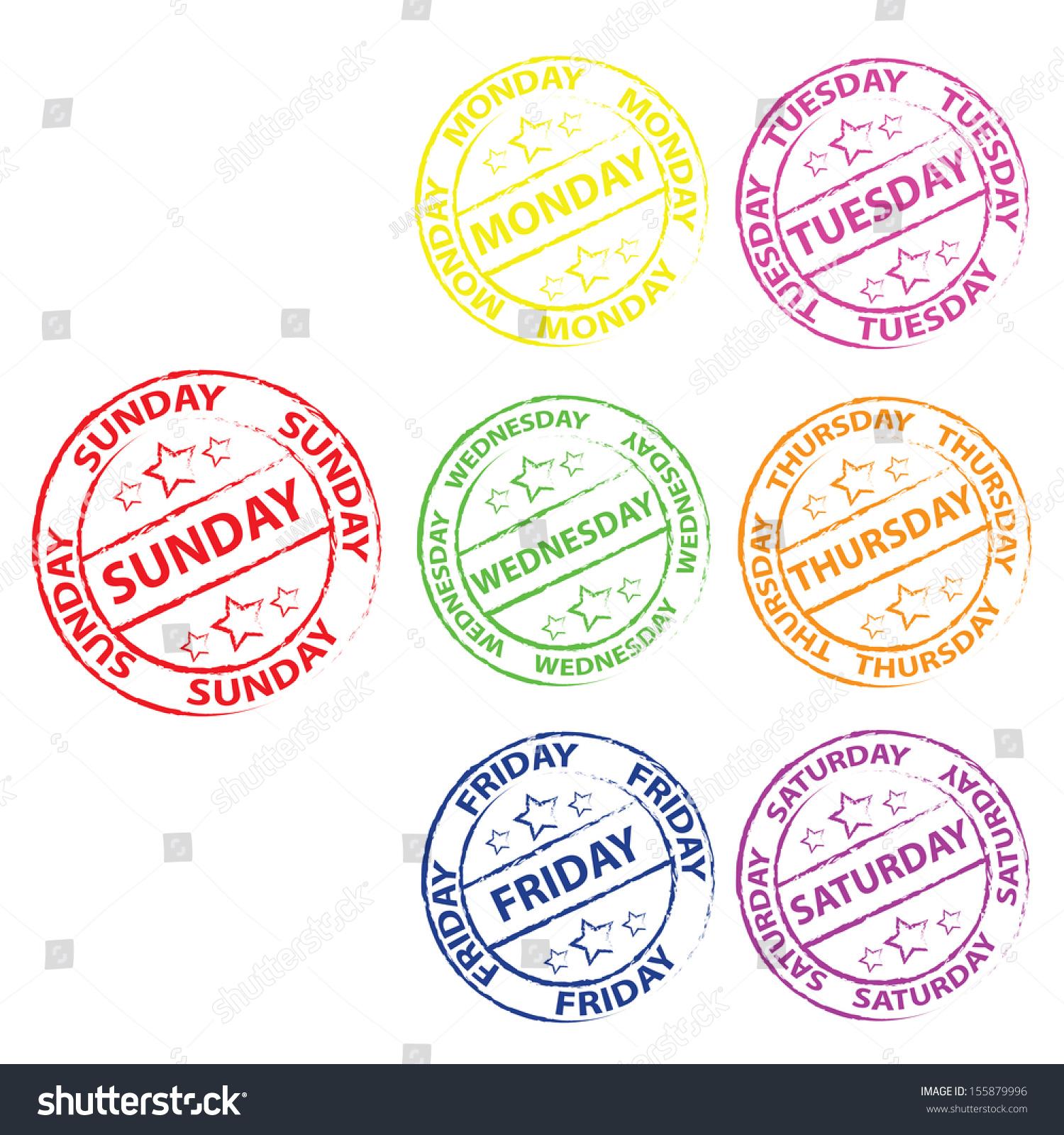 Seven Colorful Calendar Stamps Days Week Stock Illustration