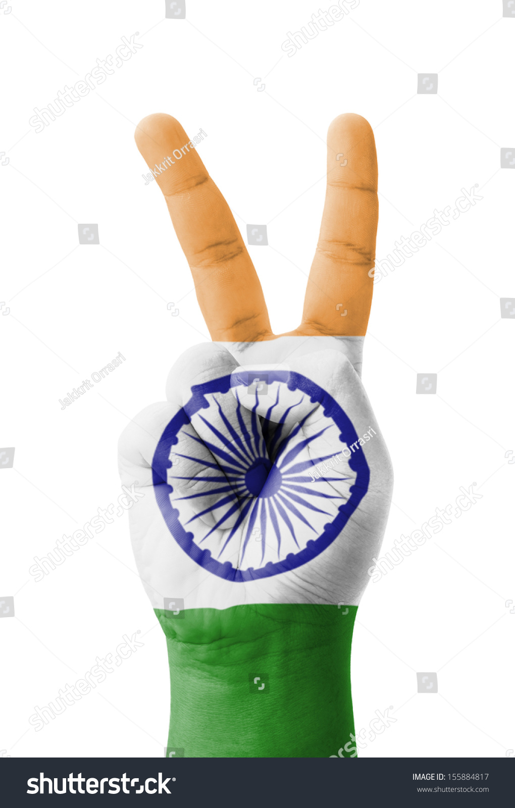 Hand Making V Sign India Flag Stock Photo Edit Now 155884817