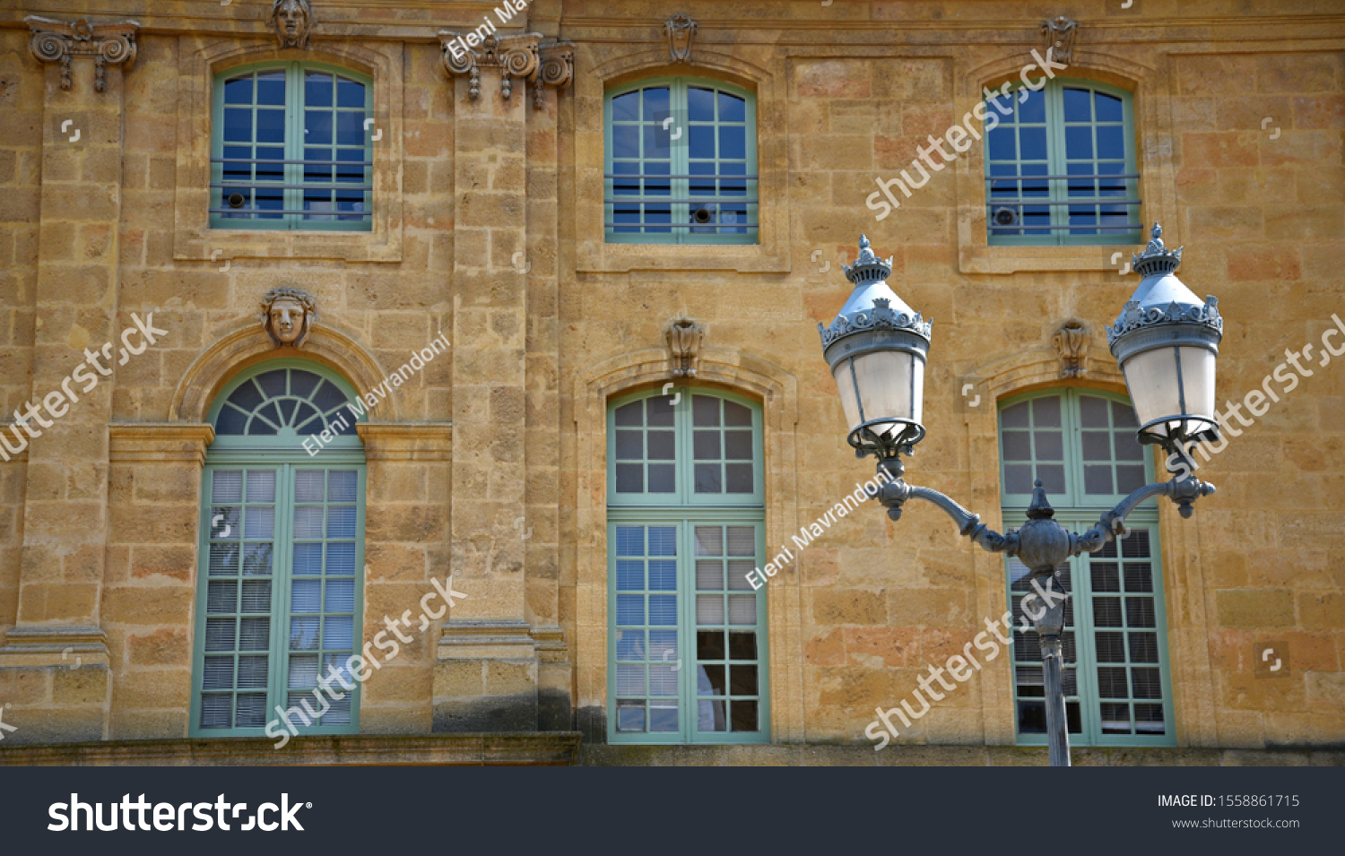 Stone Aix En Provence baroque architecture building facade stone walls stock photo