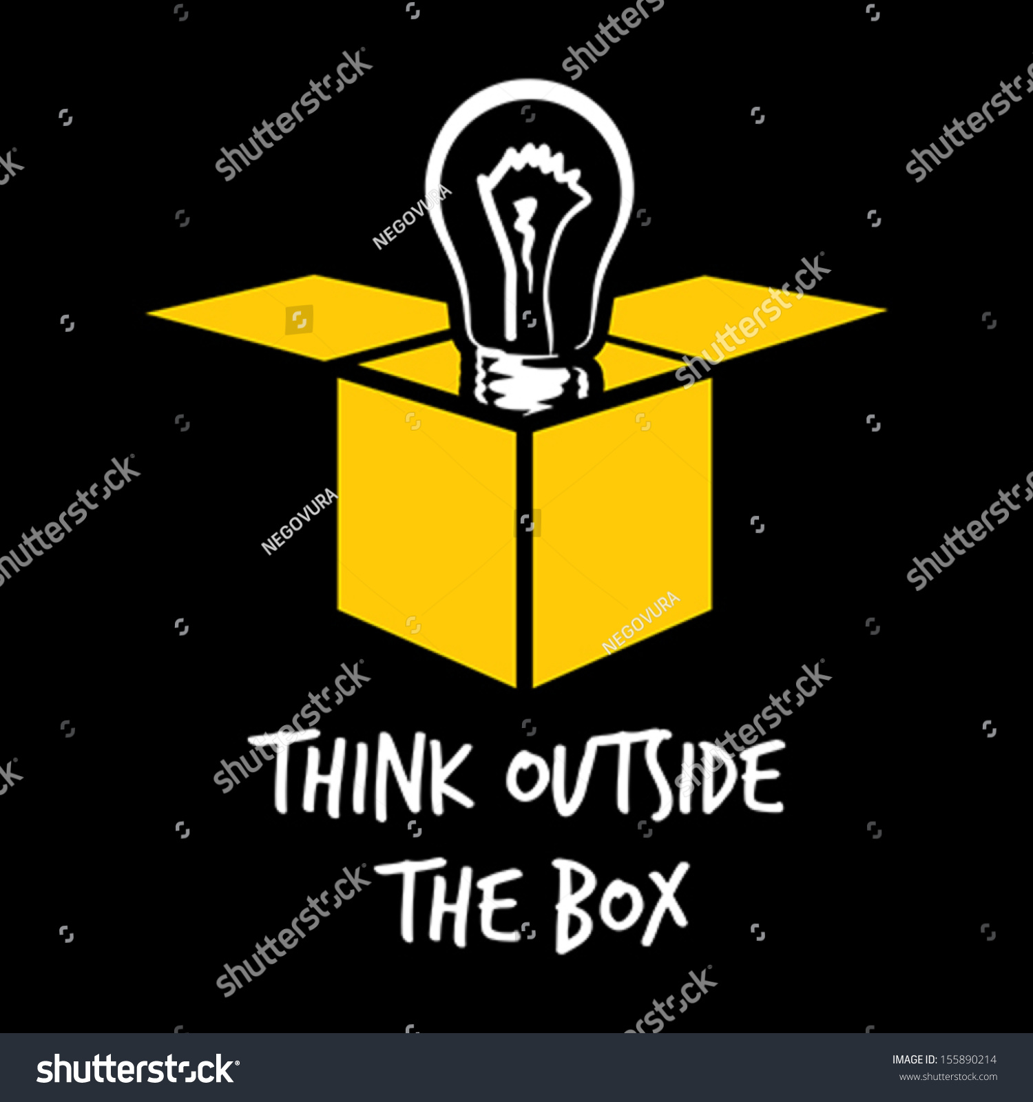 think outside box stock vector 155890214 shutterstock. Black Bedroom Furniture Sets. Home Design Ideas