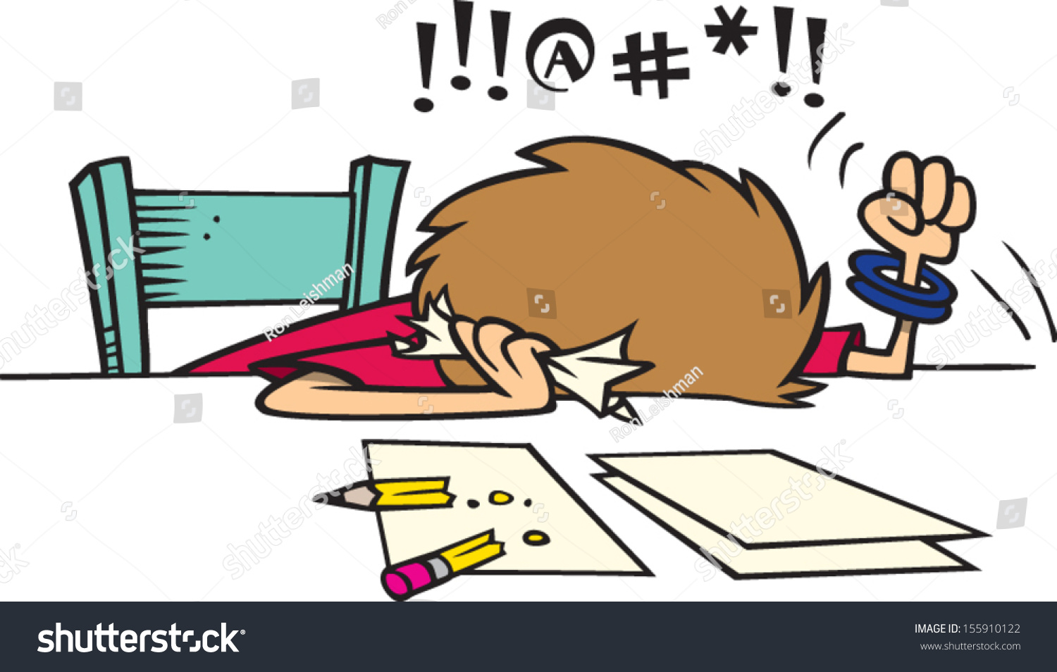 Mad Stressed Cartoon Woman Working On Stock Vector