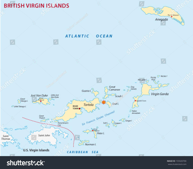 British Virgin Islands Map Stock Vector Shutterstock - British virgin islands map
