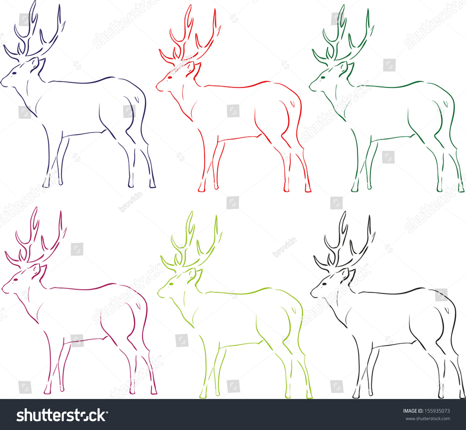 Deer Contour Line Drawing : Illustration deer contour lines stock