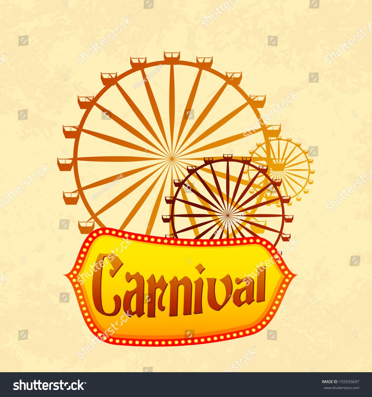 Vector Illustration Giant Wheel Retro Carnival Stock Vector ...