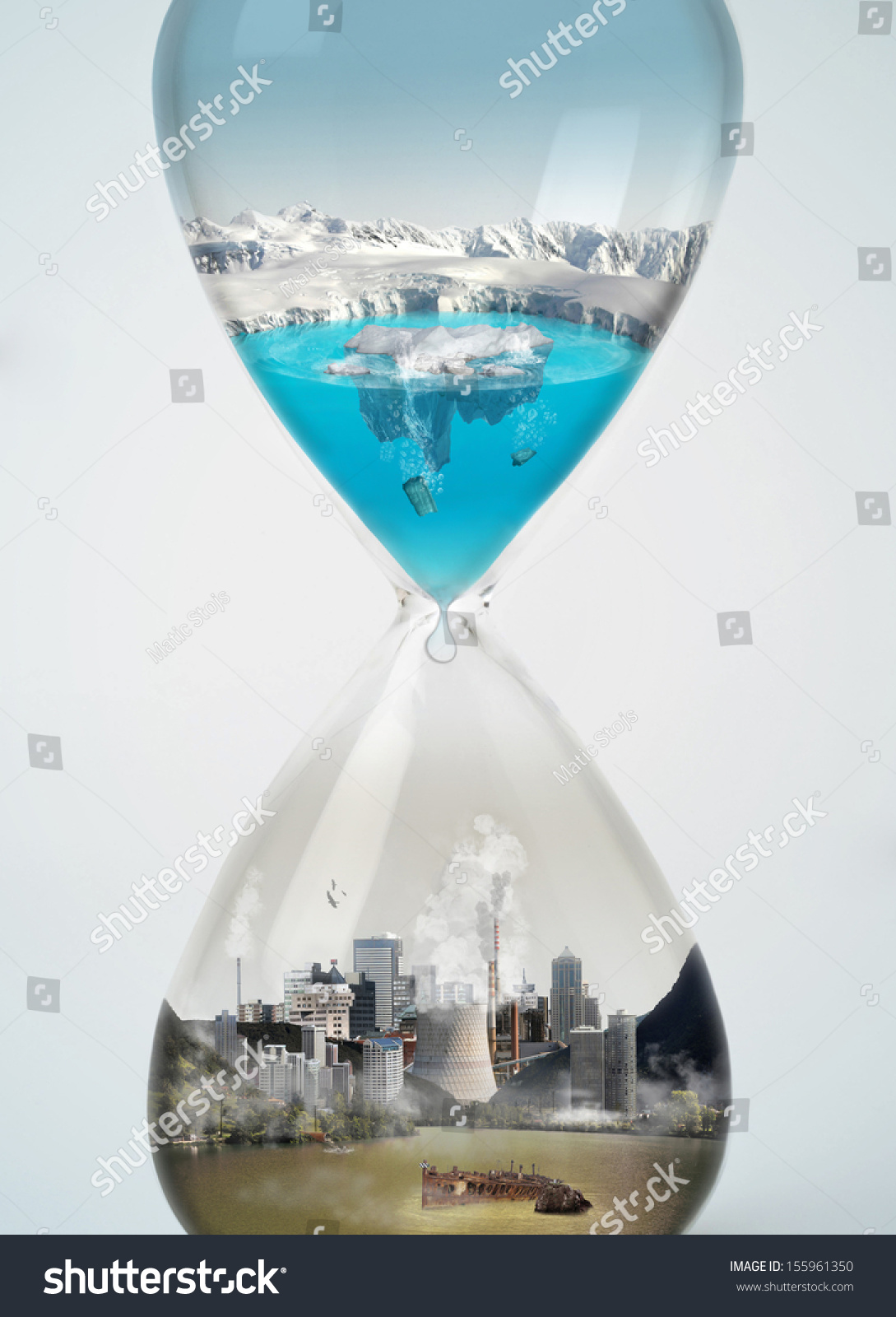 Pollution Save Earth Eco Concept Hourglass Stock Photo