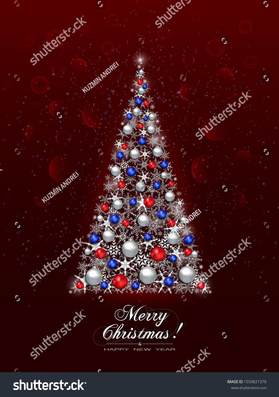 Abstract Christmas Tree White Snowflakes Decorated Stock Vector Royalty Free 1559821376