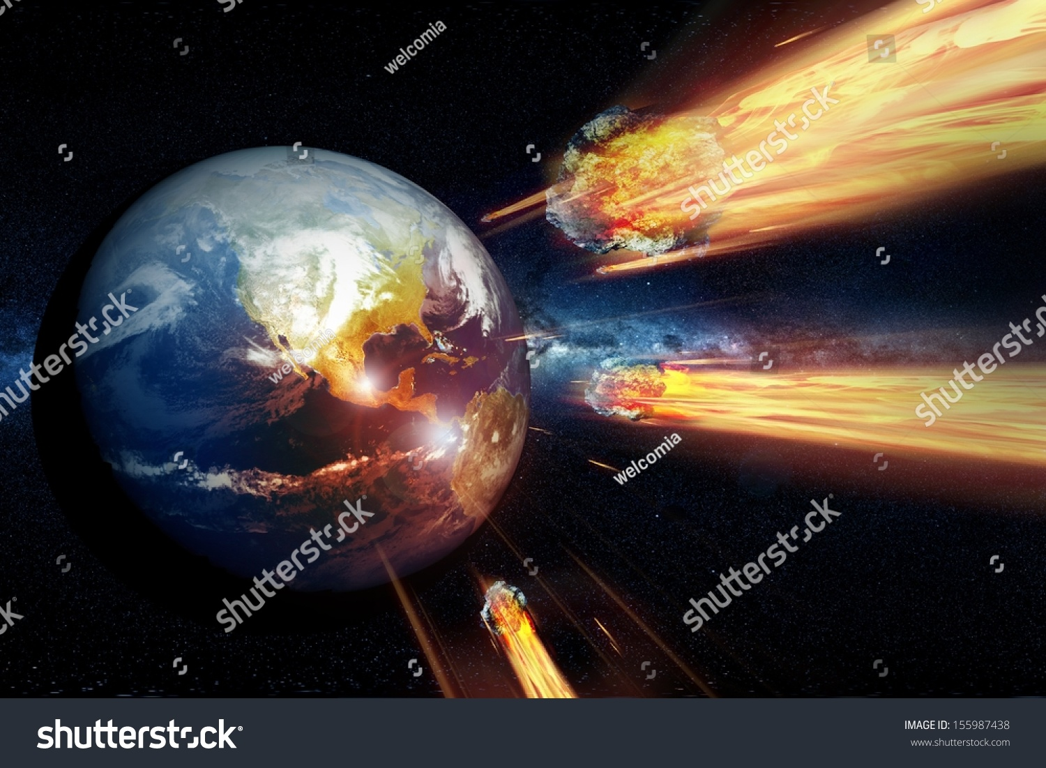 Armageddon End World Asteroids Heading Hitting Stock ...