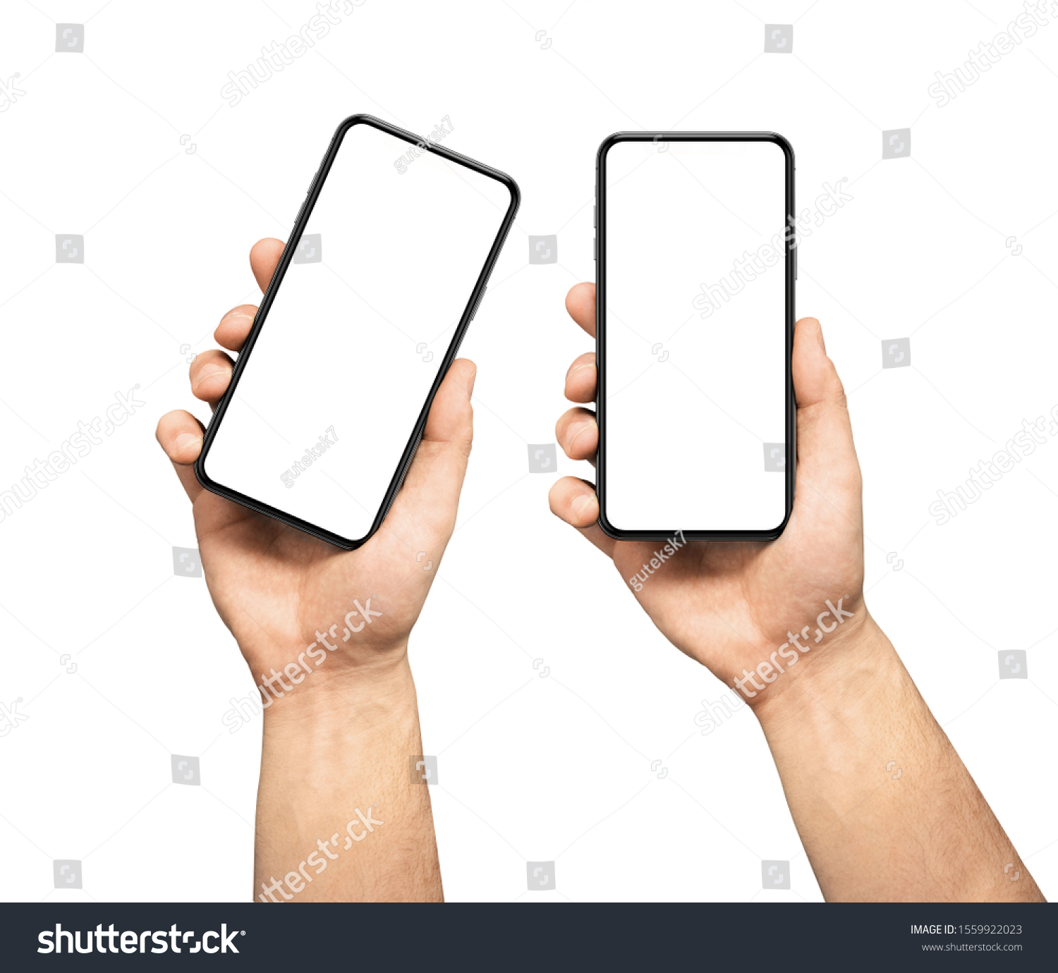 Male hand holding the black smartphone  blank screen with modern frameless design, two positions vertical and rotated - isolated on white background #1559922023