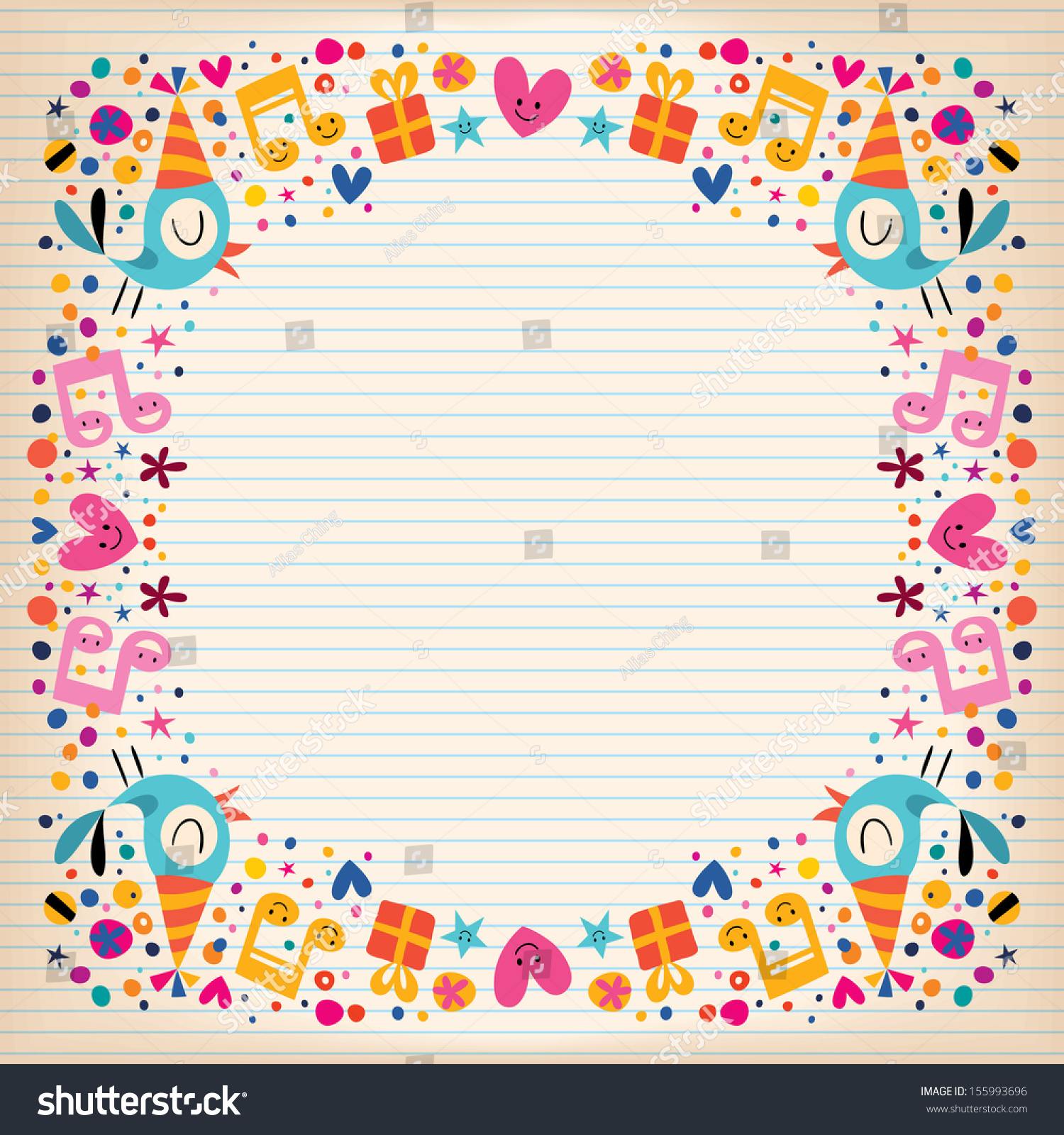 Lined paper with a border