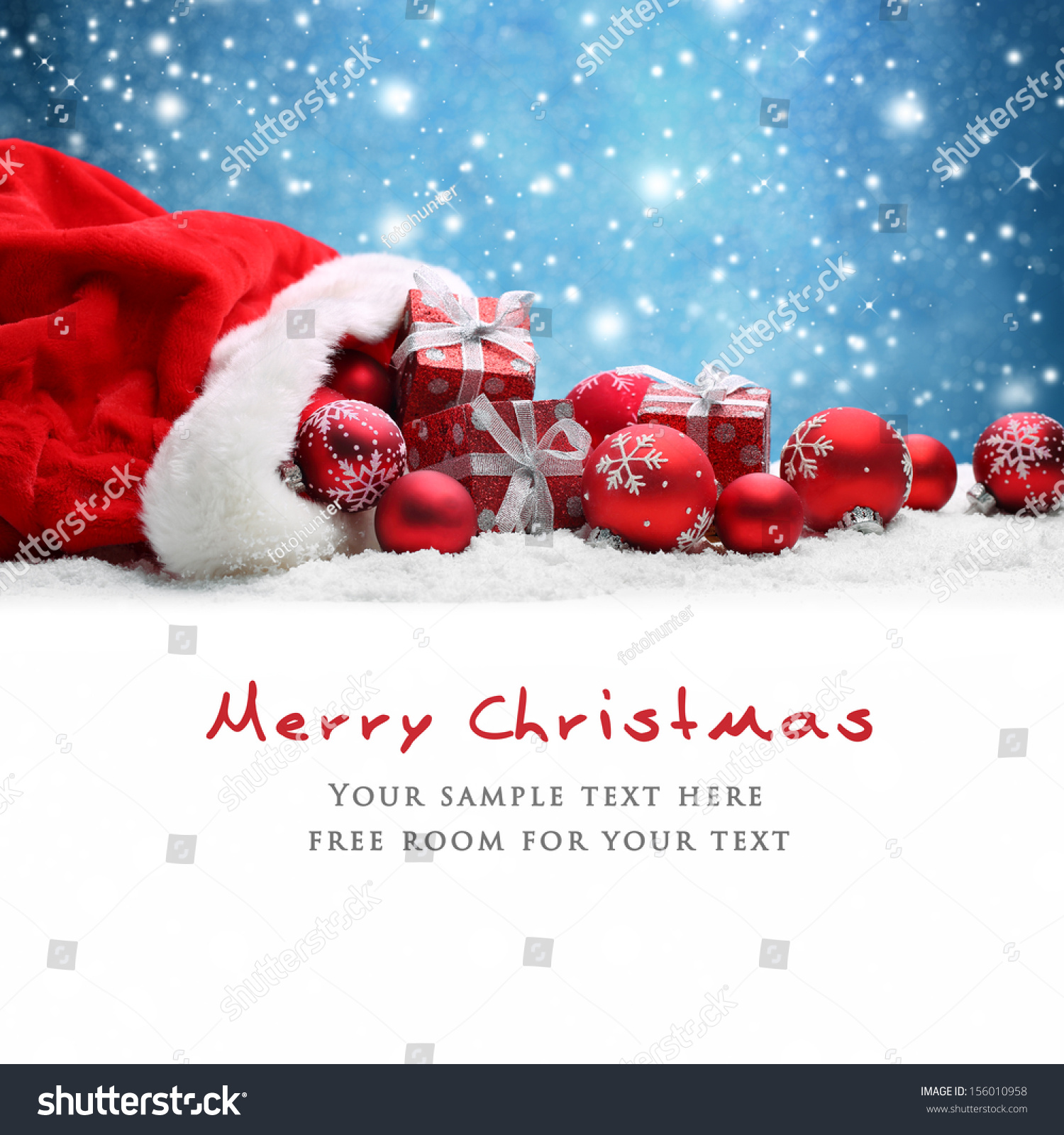 Santa claus red bag christmas balls stock photo