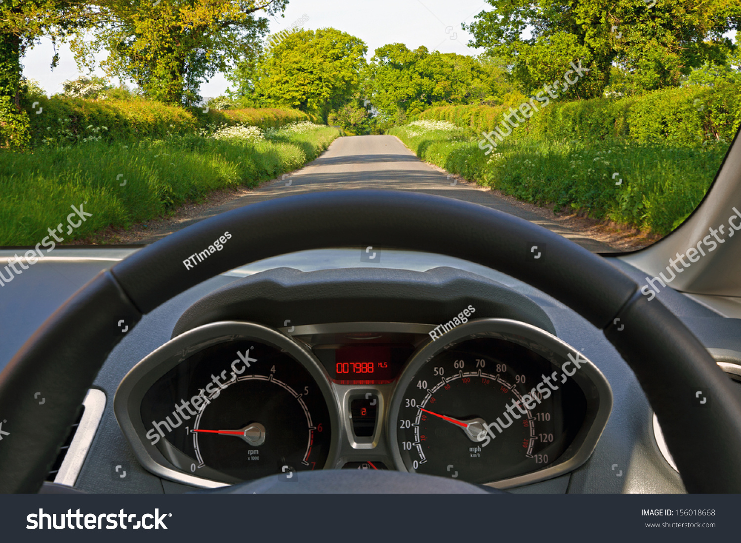 Behind The Steering Wheel : View behind steering wheel car whilst stock photo