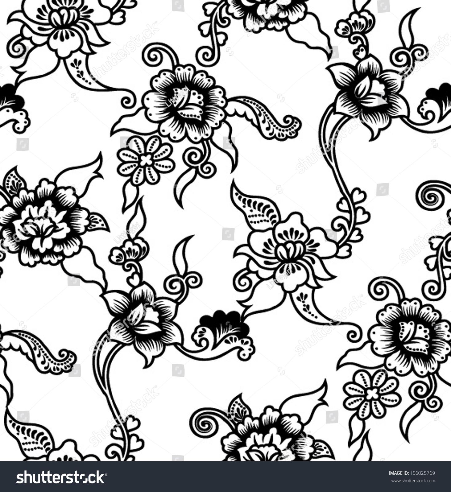 Seamless Batik Vector Floral Background.