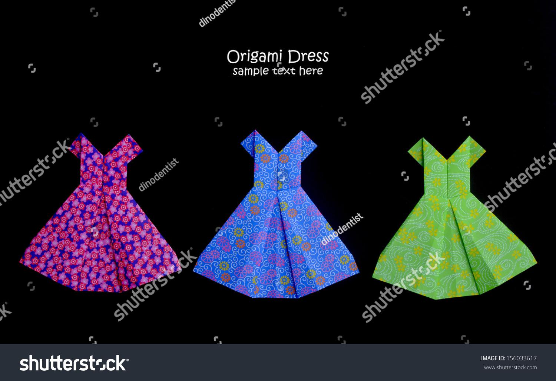 Origami dress isolated on black background stock photo 156033617 origami dress isolated on black background jeuxipadfo Choice Image