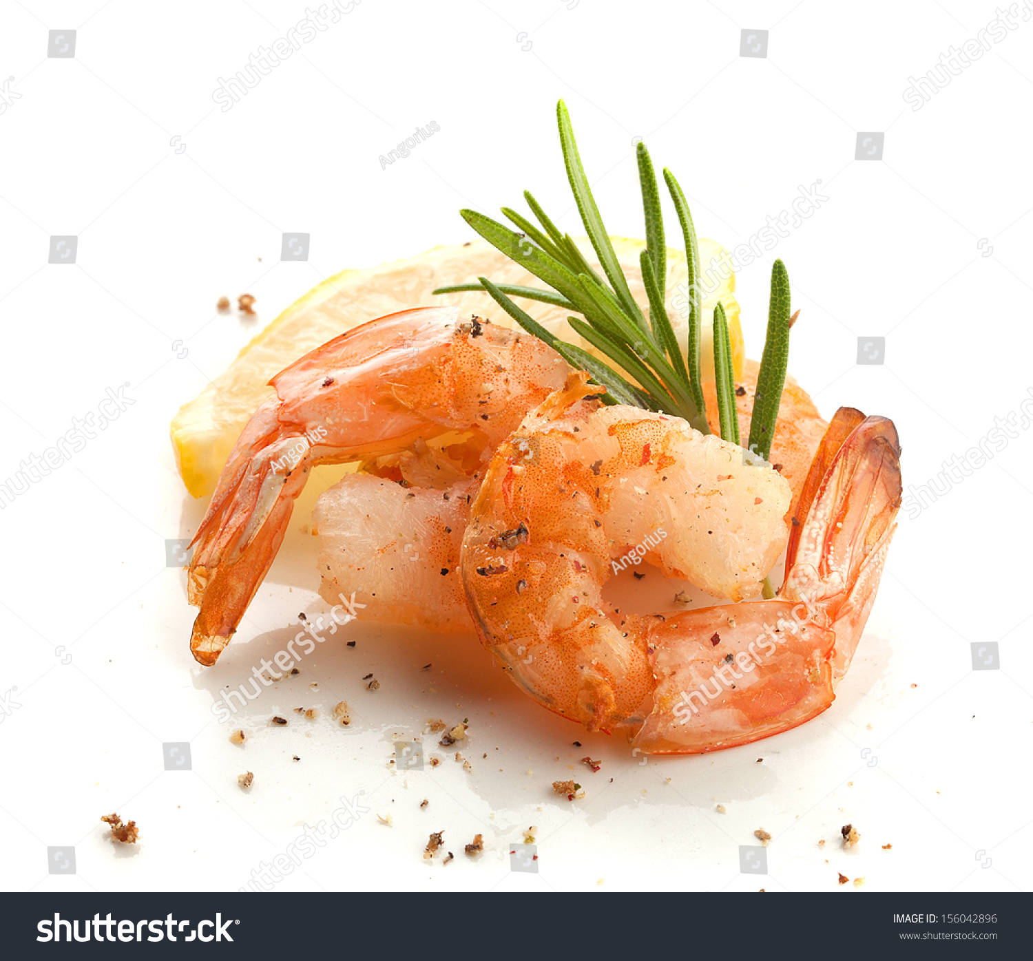 Two Roasted Shrimp'S Tails With Rosemary And Lemon Imagen de archivo ...
