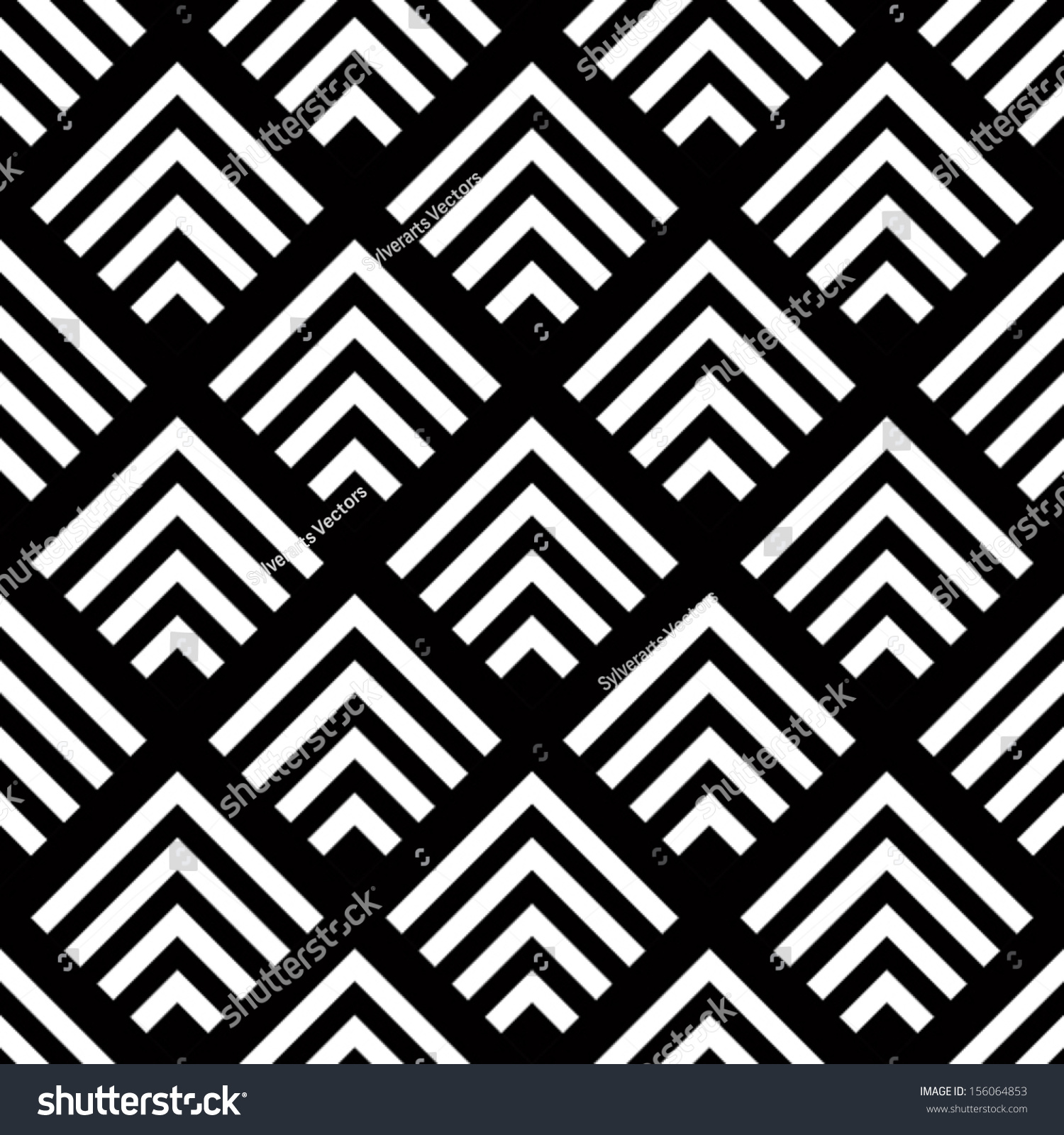 Seamless Geometric Vector Background Simple Black Stock
