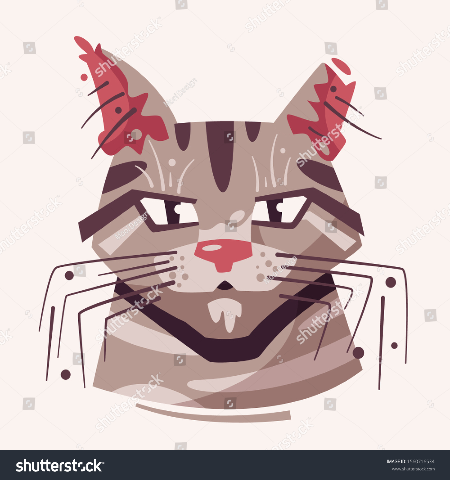 Cute Cat Face Flat Vector Illustration Stock Vector Royalty Free