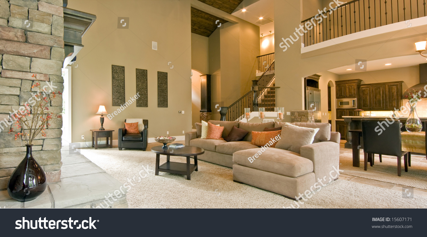 Beautiful living room panorama modern home stock photo for Beautiful drawing room