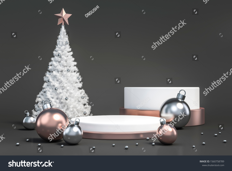 White Christmas Tree Metallic Rose Gold Stock Illustration 1560758789