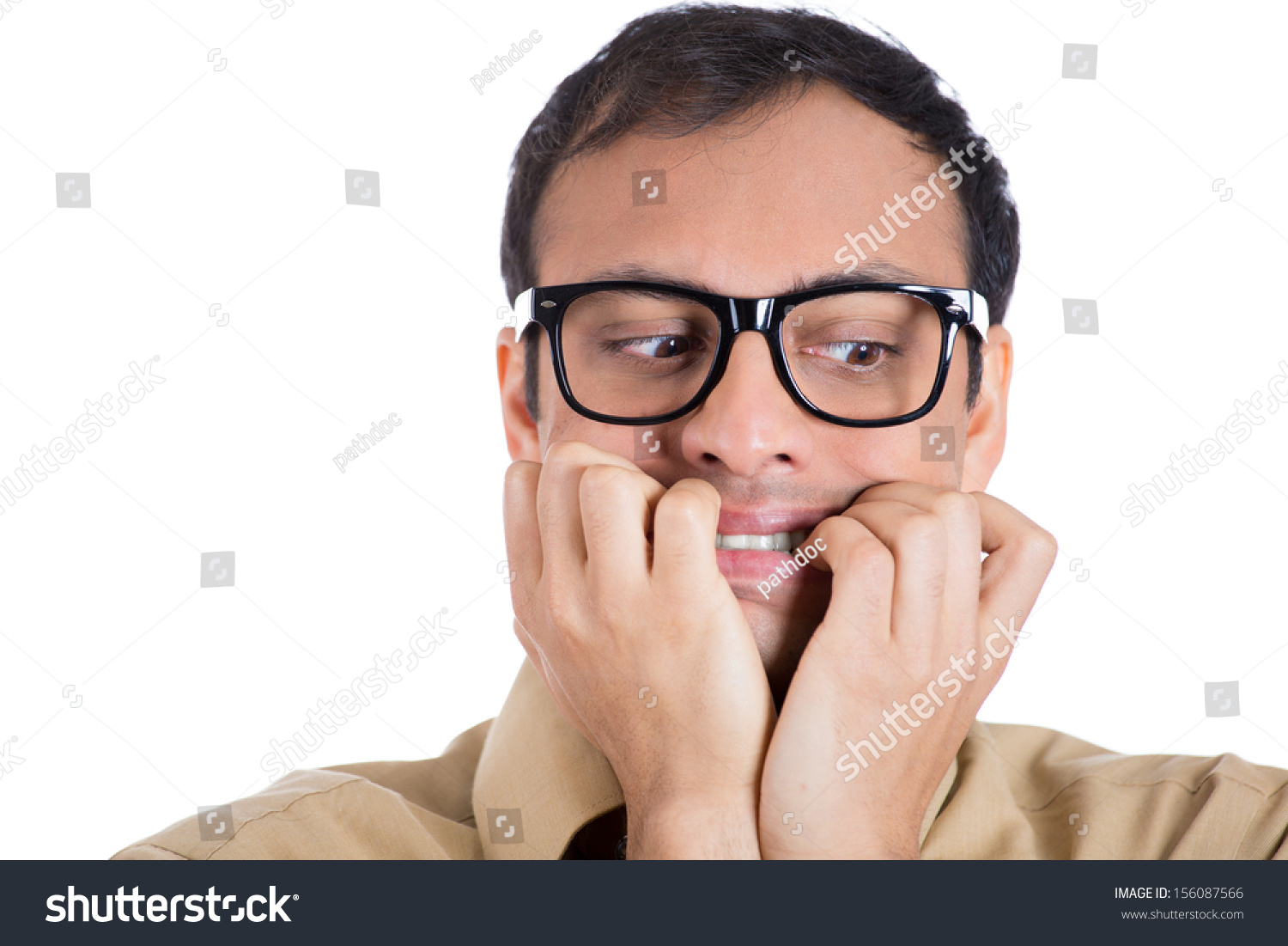 Closeup Portrait Nerdy Guy Glasses Biting Stock Photo (Royalty Free ...