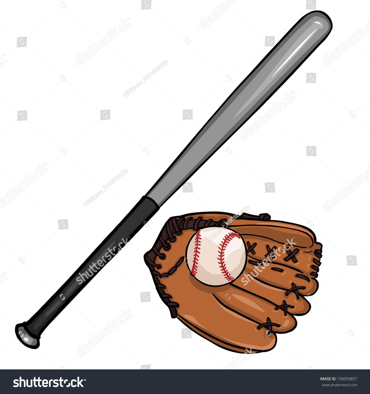 Vector Cartoon Illustraition Baseball Bat Ball Stock Vector ...