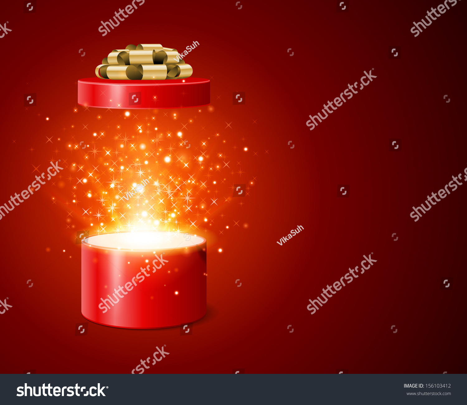 open gift box and magic light fireworks christmas vector