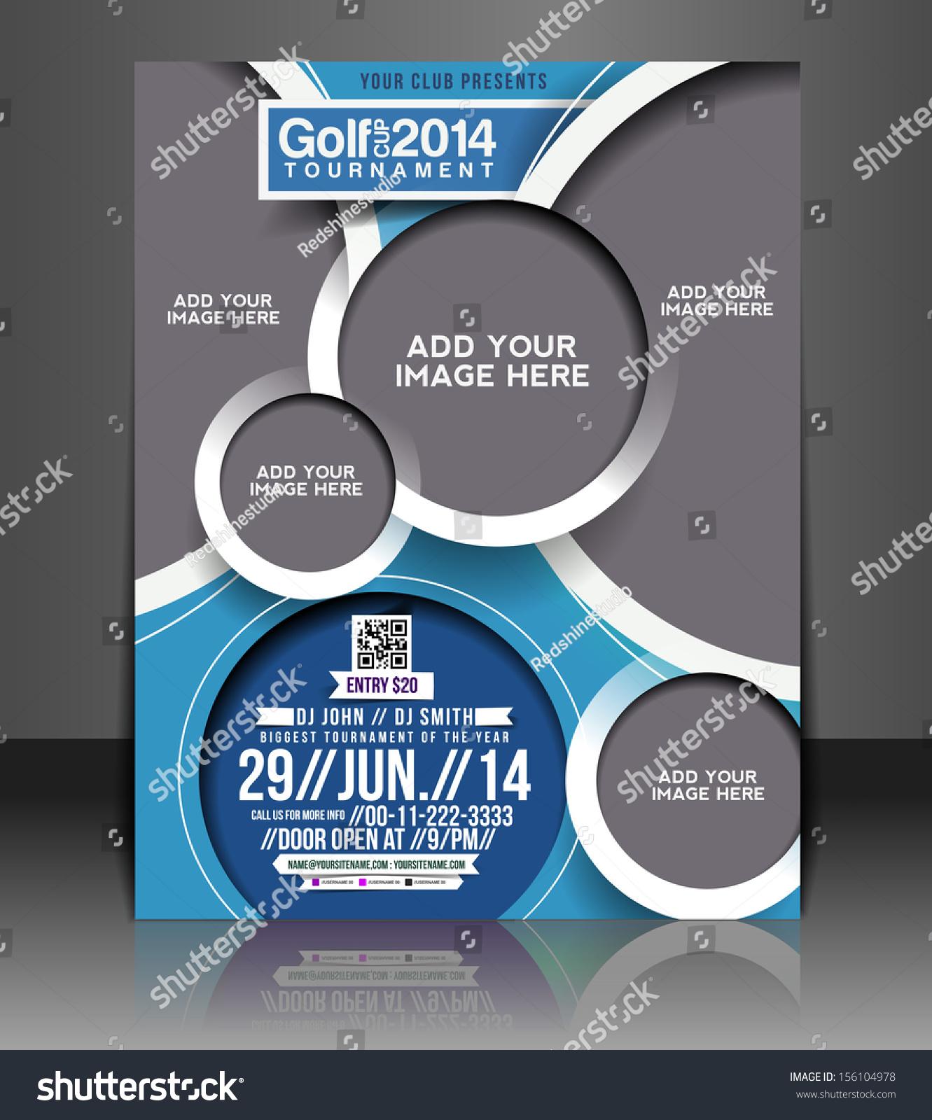blank golf tournament flyer template stock vector  u2013 name