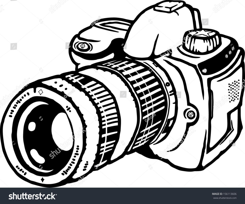 Camera Dslr Camera Cartoon vector cartoon single lens reflex still stock 156113606 of a photograph camera isolated against white