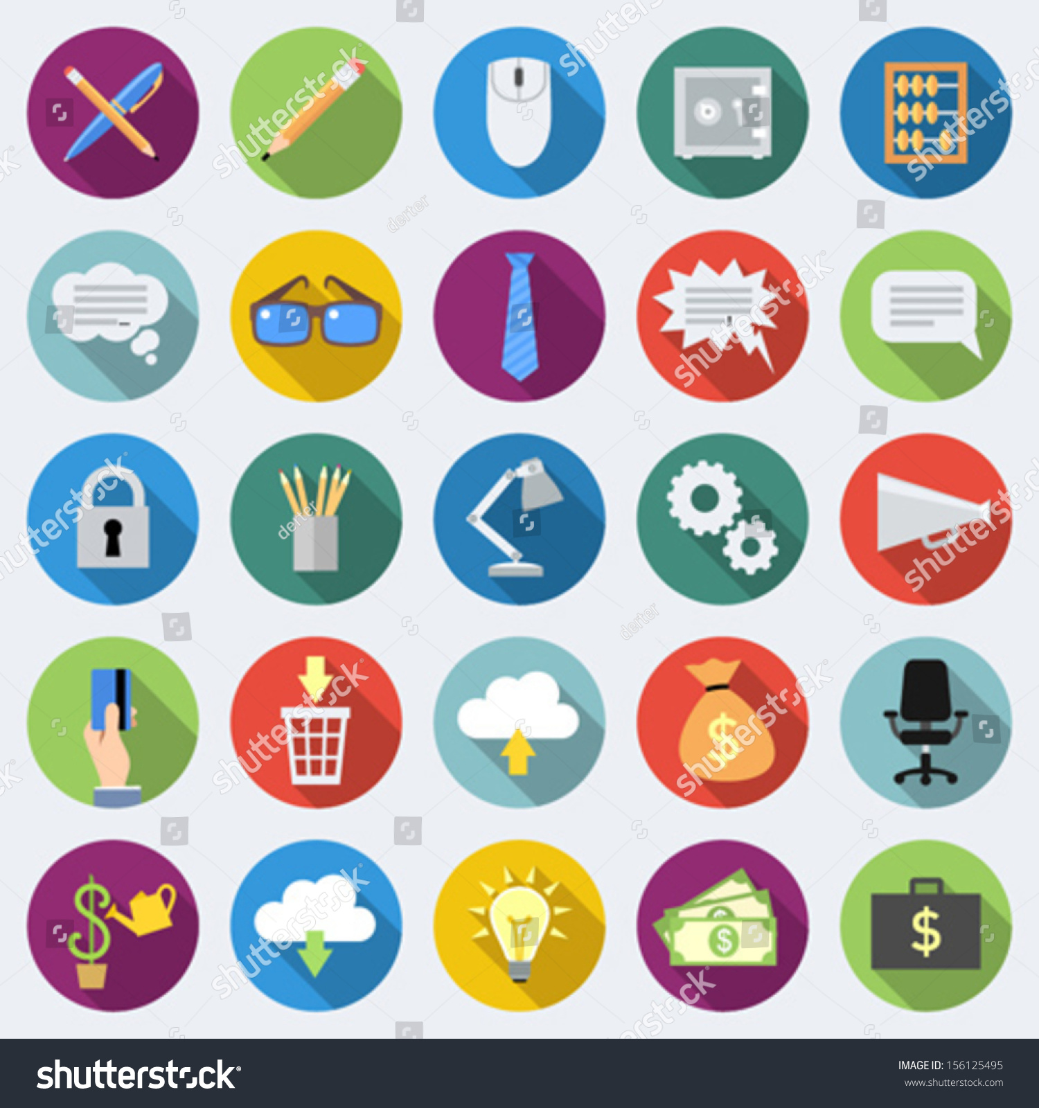 Set Office Icons Flat Design Long Stock Vector 156125495 ...