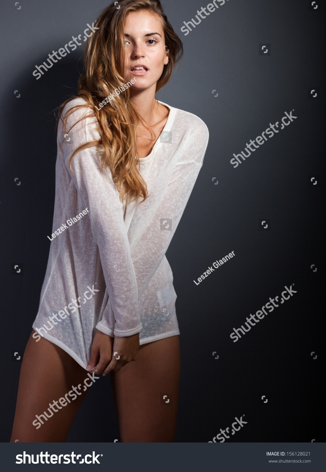 Sexy woman long sleeve white tshirt stock photo 156128021 for T shirt and panties