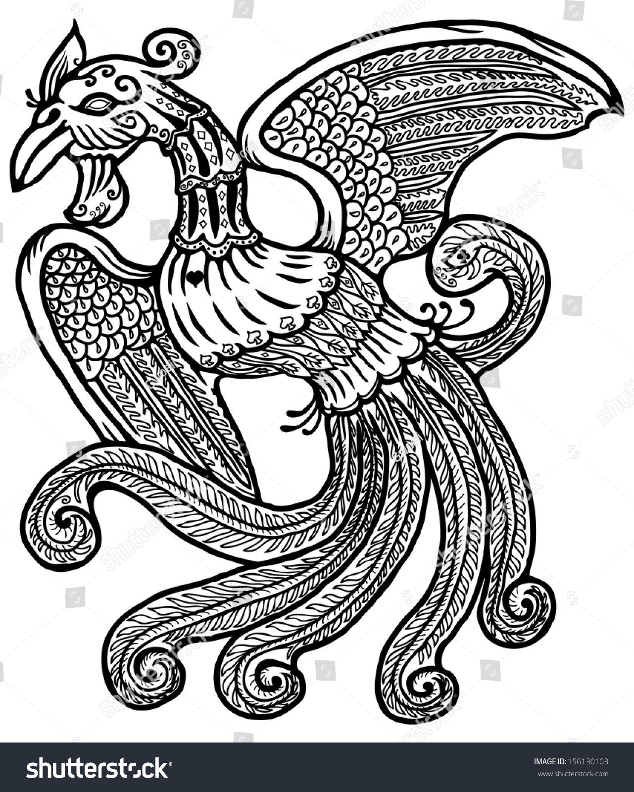 Cartoon Ancient Exotic Mythical Phoenix Bird Stock Illustration